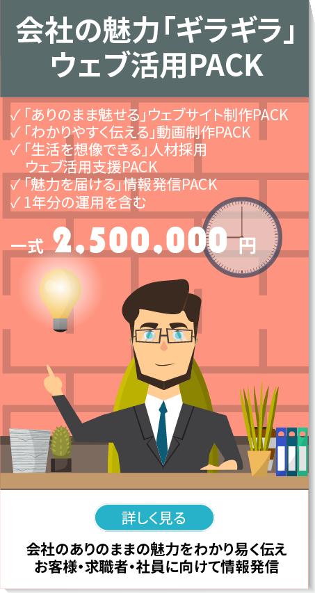 企業の魅力「ギラギラ」ウェブ活用PACK、「ありのまま魅せる」ウェブサイト制作PACK、「わかりやすく伝える」動画制作PACK、「生活を想像できる」人材採用ウェブ活用支援PACK、「魅力を届ける」情報発信PACK、1年分の運用を含む、一式250万円